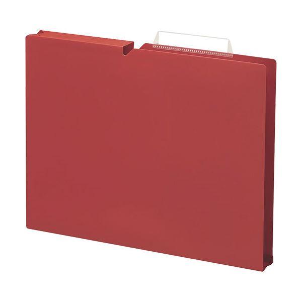 収納用品 マガジンボックス・ファイルボックス 関連 (まとめ)個別フォルダー PP製 A4 マチ幅30mm カーマインレッド A4P-NEF30RX10 1パック(10冊) 【×5セット】