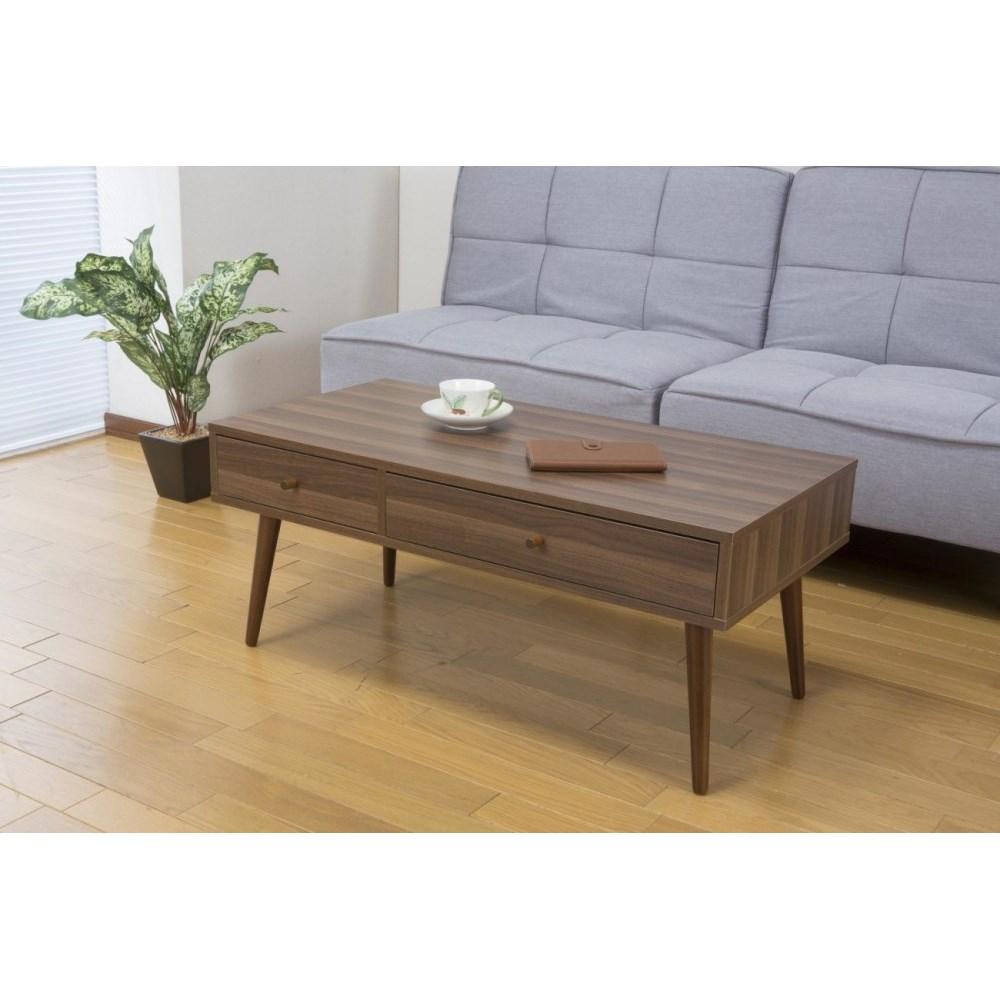フロアテーブル 収納付きテーブル おしゃれ 引き出し付テーブル ダークブラウン