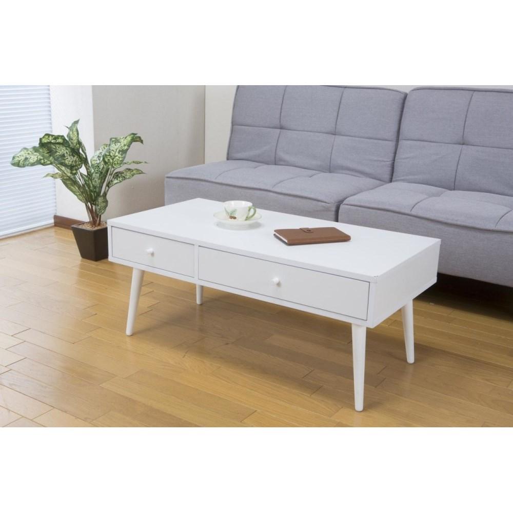 ローテーブル 収納付き インテリア 引き出し付テーブル ホワイト