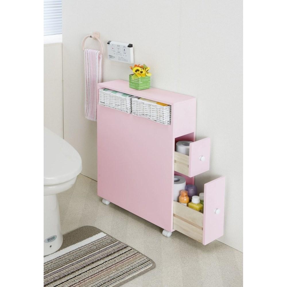 トイレラック トイレグッズ キャスター付き 多機能トイレラック ピンク