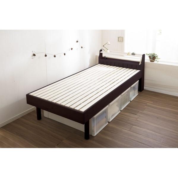 ベッド フレーム 温もりのあるパイン材の特徴を生かしました。 便利 暮らし カントリー調 すのこベッド セミダブル ダークブラウン