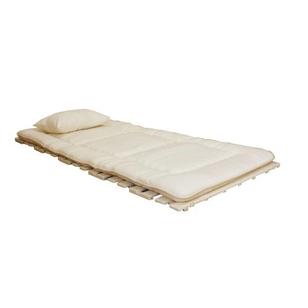 折りたたみすのこベッド 使わない時は、折りたたみ が可能。 便利 生活 ロール式抗菌樹脂すのこベッド(完成品) アイボリー