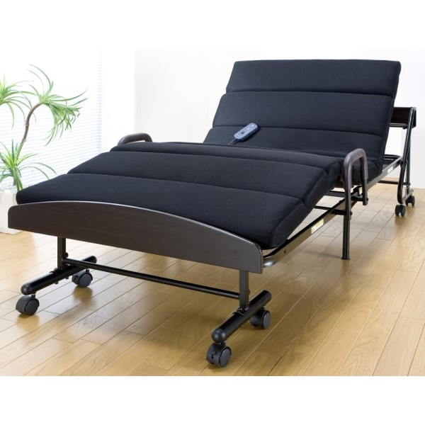 電動折りたたみベッド 人が挟まれないように設計させているので安心。 かわいい 宮付モコモコ電動折りたたみベッド ブラック
