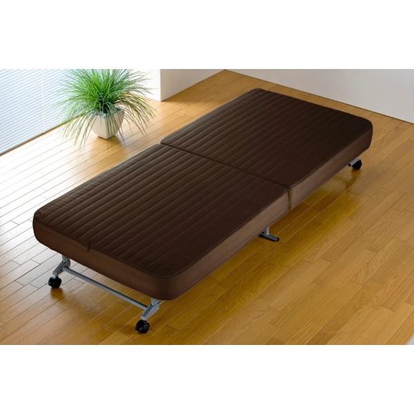 キャスター付き ベッド すだけですぐ使える モダン 生活 すぐ使える折りたたみベッド ブラウン