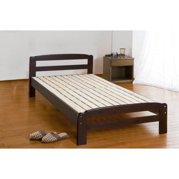 すのこ ベッド 通気性抜群のパイン材 おしゃれ 部屋 パインすのこベッド ダークブラウン