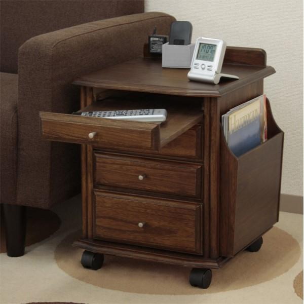 サイドテーブル 収納 キャスター付き モダン 天然木ベッドサイドテーブル ミドルブラウン