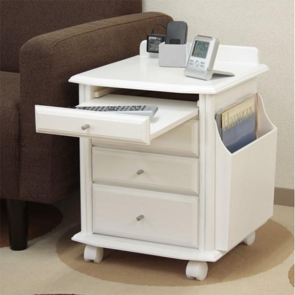 サイドテーブル 収納 多彩な 収納 スペース 暮らしと生活 天然木ベッドサイドテーブル ホワイト