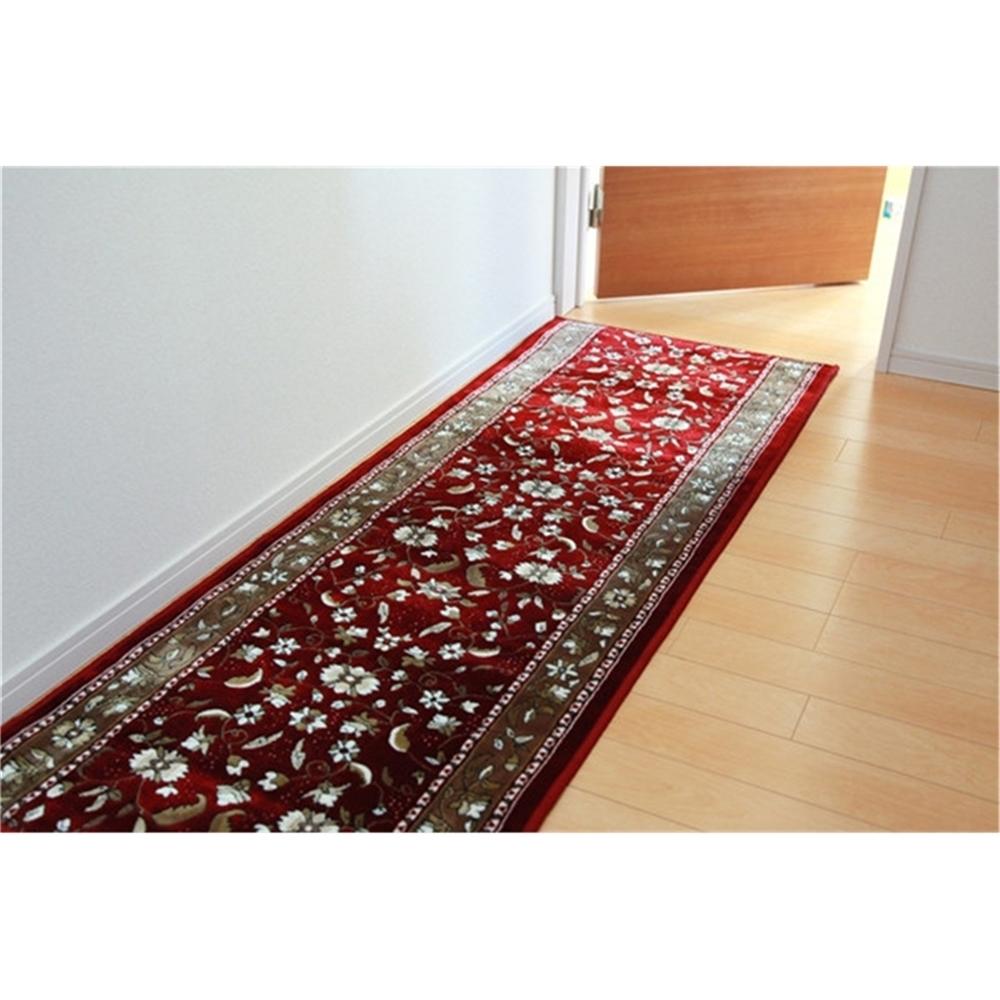 廊下 カーペット キッチンマット ポリエステル 廊下敷き カラー:ワイン サイズ:67×440cm
