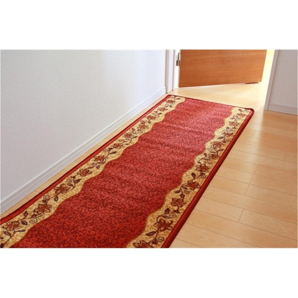 廊下敷き 廊下用カーペット 合成ゴム 廊下敷き ナイロン100% カラー:レッド サイズ:67×180cm