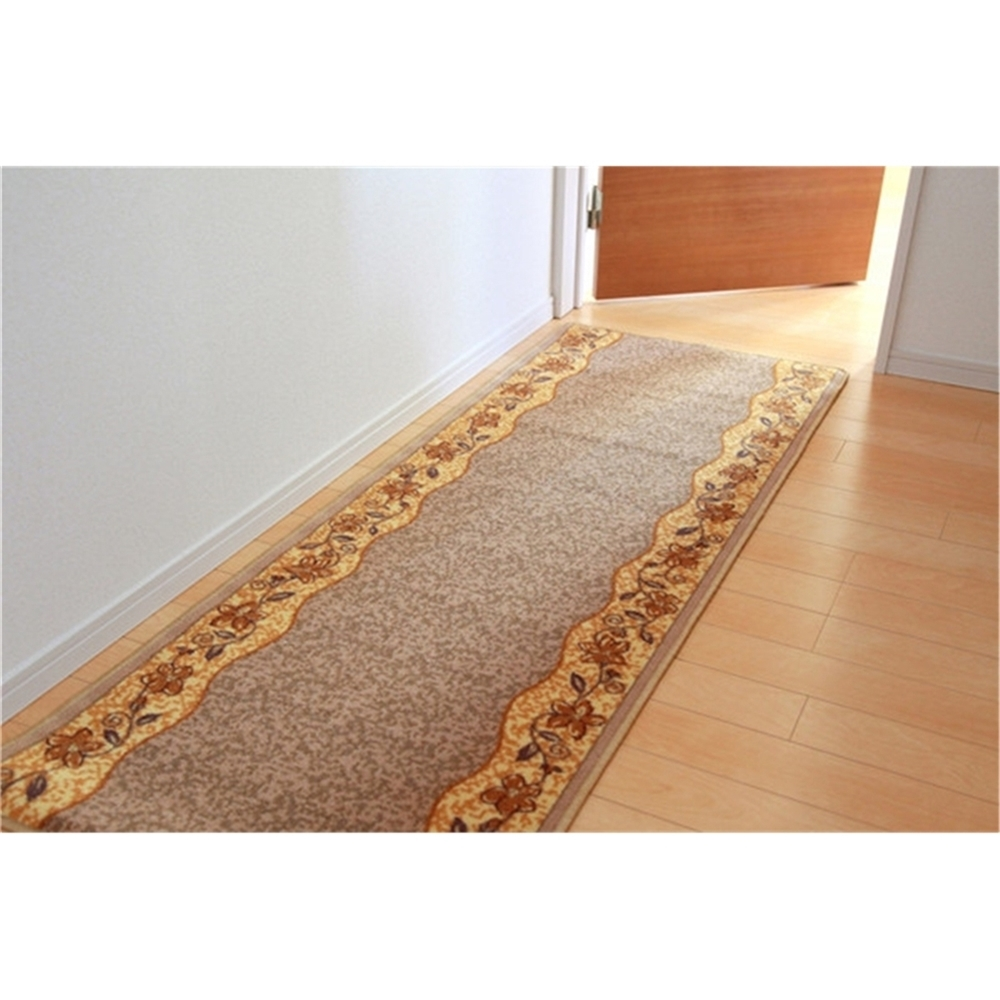 玄関マット 廊下用カーペット クラシカル 廊下敷き ナイロン100% カラー:ベージュ サイズ:67×440cm