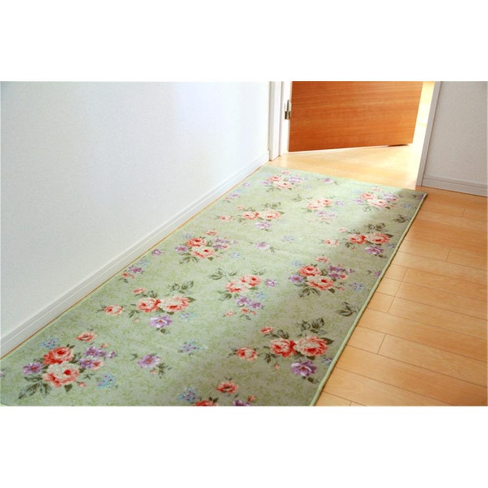 廊下用カーペット キッチンマット 耐久性 廊下敷き カラー:グリーン サイズ:80×340cm