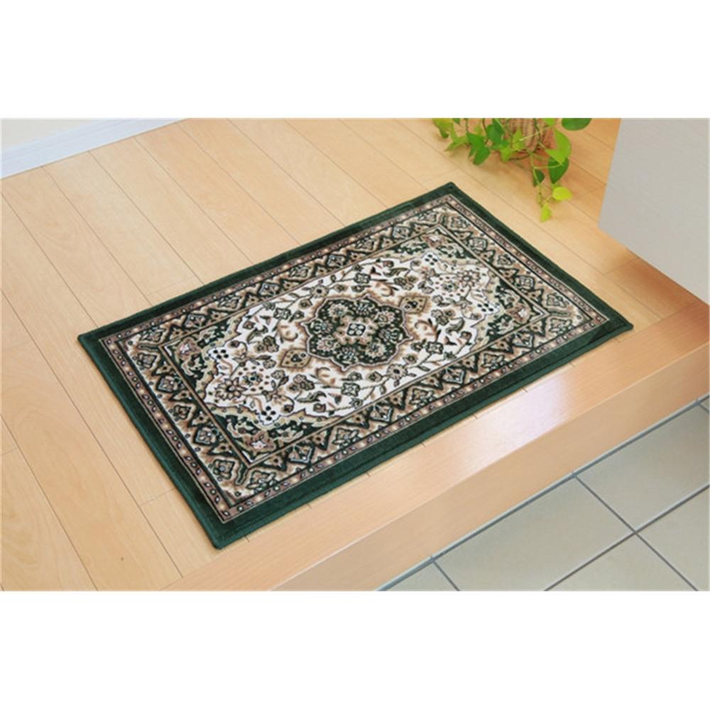 mat エントランスマット 滑りにくい加工 玄関マット カラー:グリーン サイズ:60×90cm