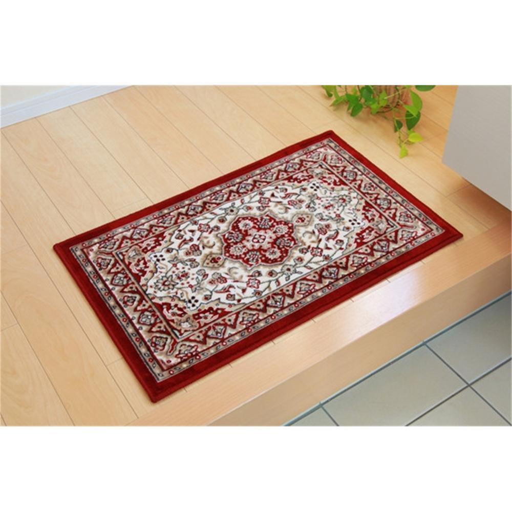 mat カーペット 滑りにくい加工 玄関マット カラー:ワイン サイズ:67×110cm