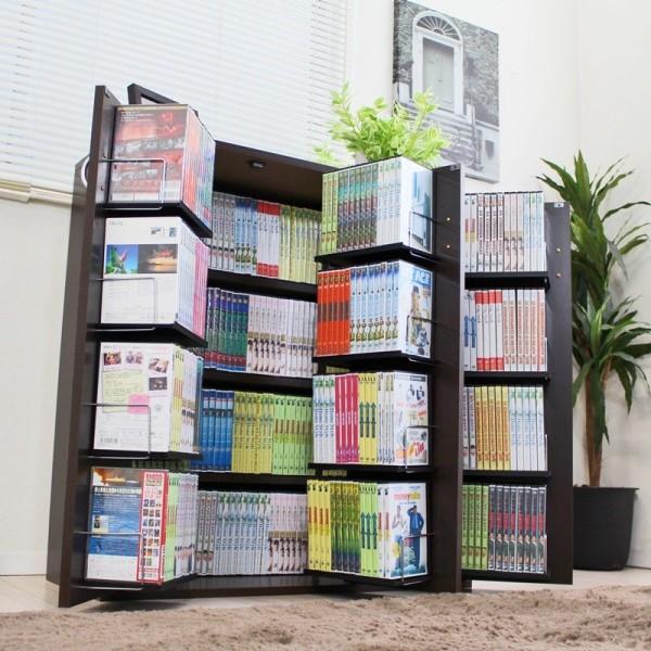 書棚 扉付き 驚きの収納力! 人気 暮らし 本棚 日本製!DVDラック最大400収納 本棚ストッカー収納庫ダークブラウン