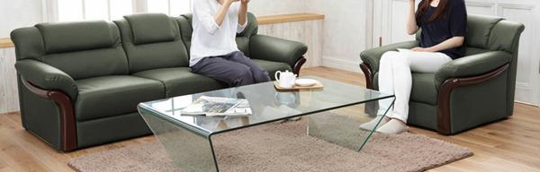 本革木飾り付き省スペースソファー【2人掛け】肘付き分割式ダークブラウン