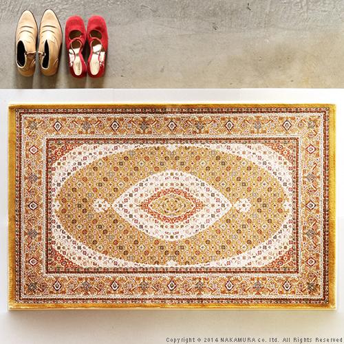 生活関連グッズ ベルギー製 世界最高密度 ウィルトン織り 玄関マット 75x120cm ラグ カーペット じゅうたん ゴールド