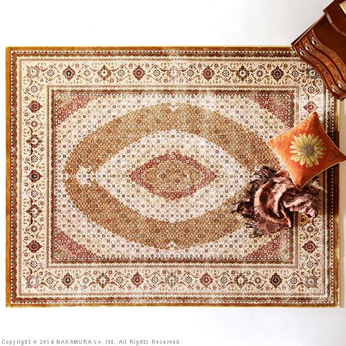 生活関連グッズ ベルギー製 世界最高密度 ウィルトン織り ラグ 140x200cm ラグ カーペット じゅうたん ゴールド