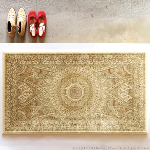 生活関連グッズ ベルギー製 ウィルトン織り 玄関マット 60x90cm ラグ カーペット じゅうたん アイボリー