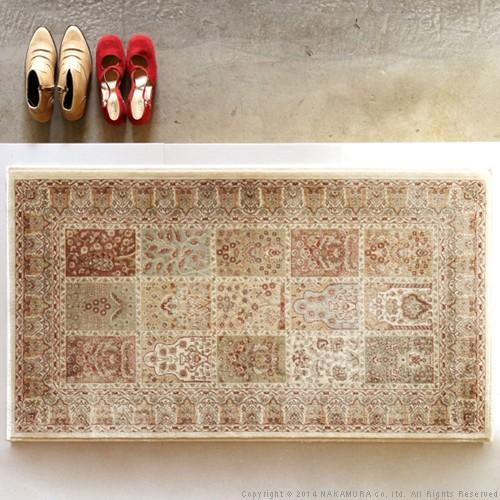 生活関連グッズ ベルギー製 ウィルトン織り 玄関マット 70x120cm ラグ カーペット じゅうたん アイボリー