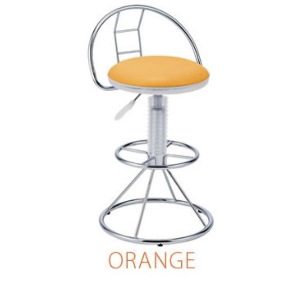 イス チェアー クロームメッキ スケルトンバーチェア カラー:オレンジ