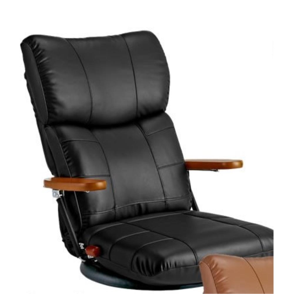 座イス ソファチェア 肘置き 木肘 スーパーソフトレザー座椅子 カラー:ブラック