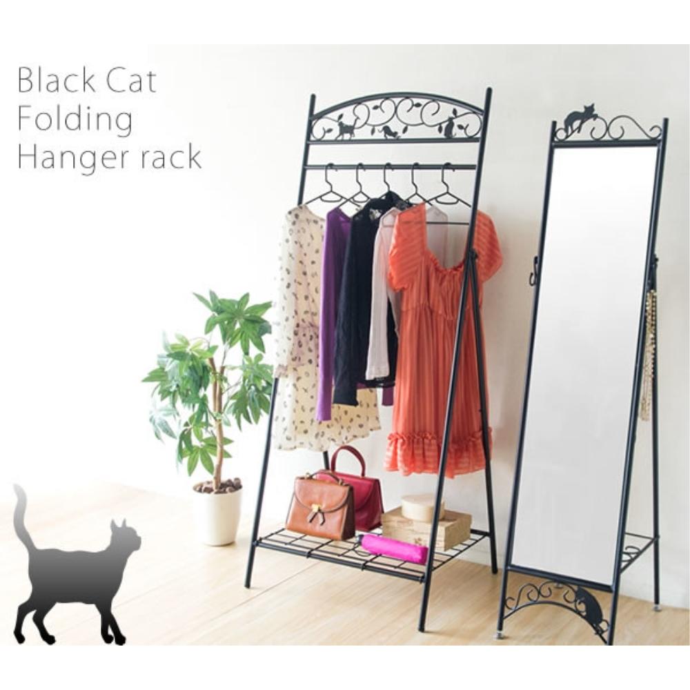 衣類収納 洋服ハンガー ロートアイアン 猫の折りたたみハンガーラック カラー:ブラック