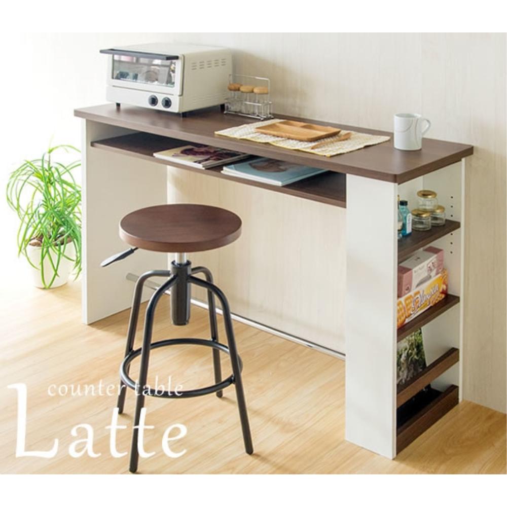 バーテーブル table 2個口コンセント付き カウンターテーブル カラー:ホワイト&ブラウン