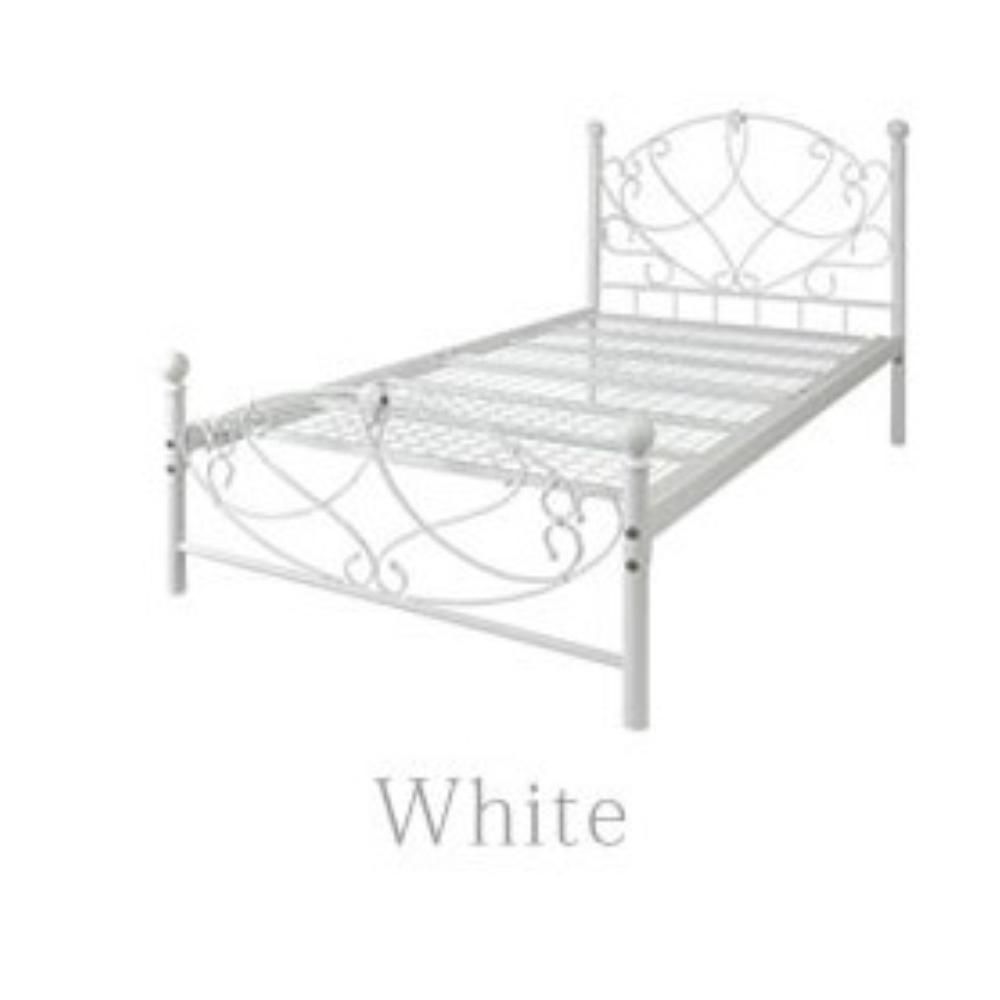 ベッドフレーム アンティーク調 シングル シングルベッド マット付 カラー:ホワイト