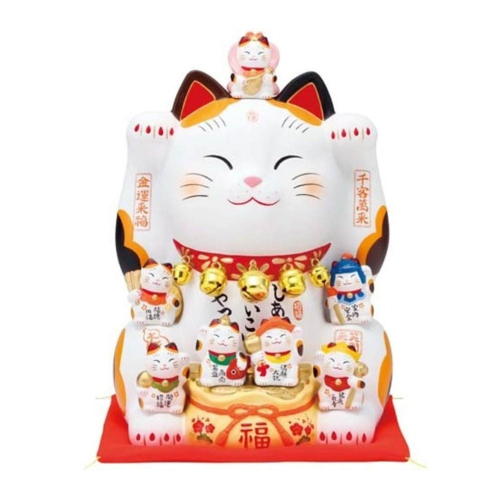 置物 招き猫 幸せ招き 錦彩 七福神招き猫 (8.5号)