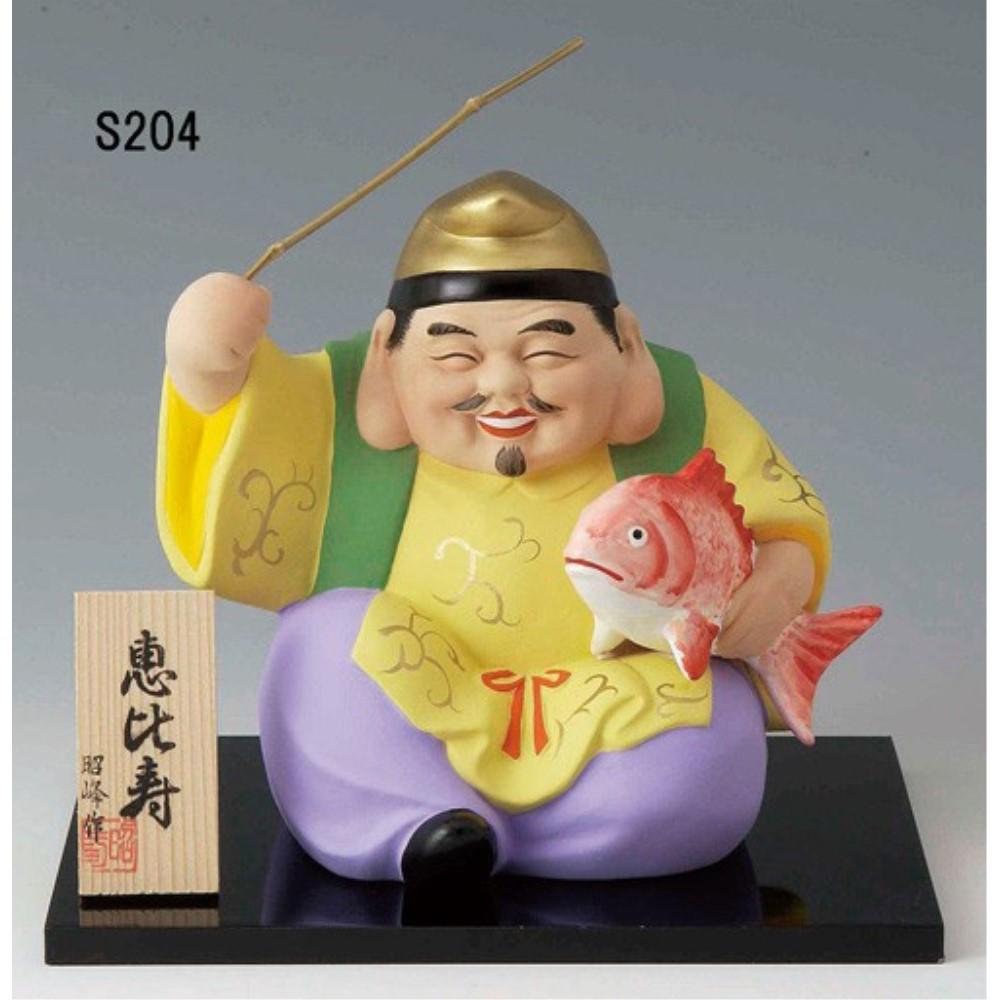 【3個セット】縁起物 陶製 オブジェ 七福神置物 (特大) デザイン:恵比寿