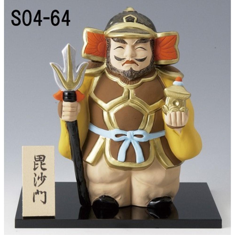 【3個セット】縁起物 陶製 縁起の良い 七福神置物 (特大) デザイン:毘沙門