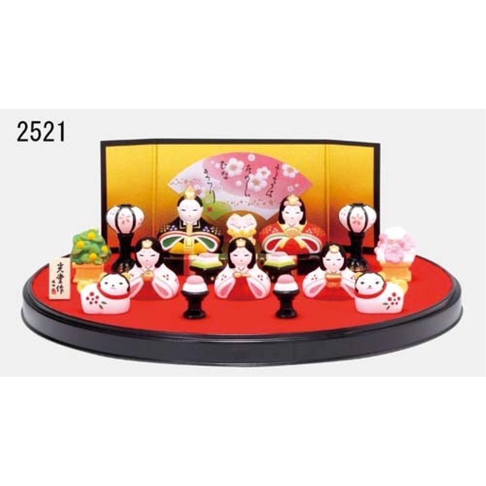 ひな祭り 置物 陶器 雛人形 錦彩 花かざり雛 (平飾り)