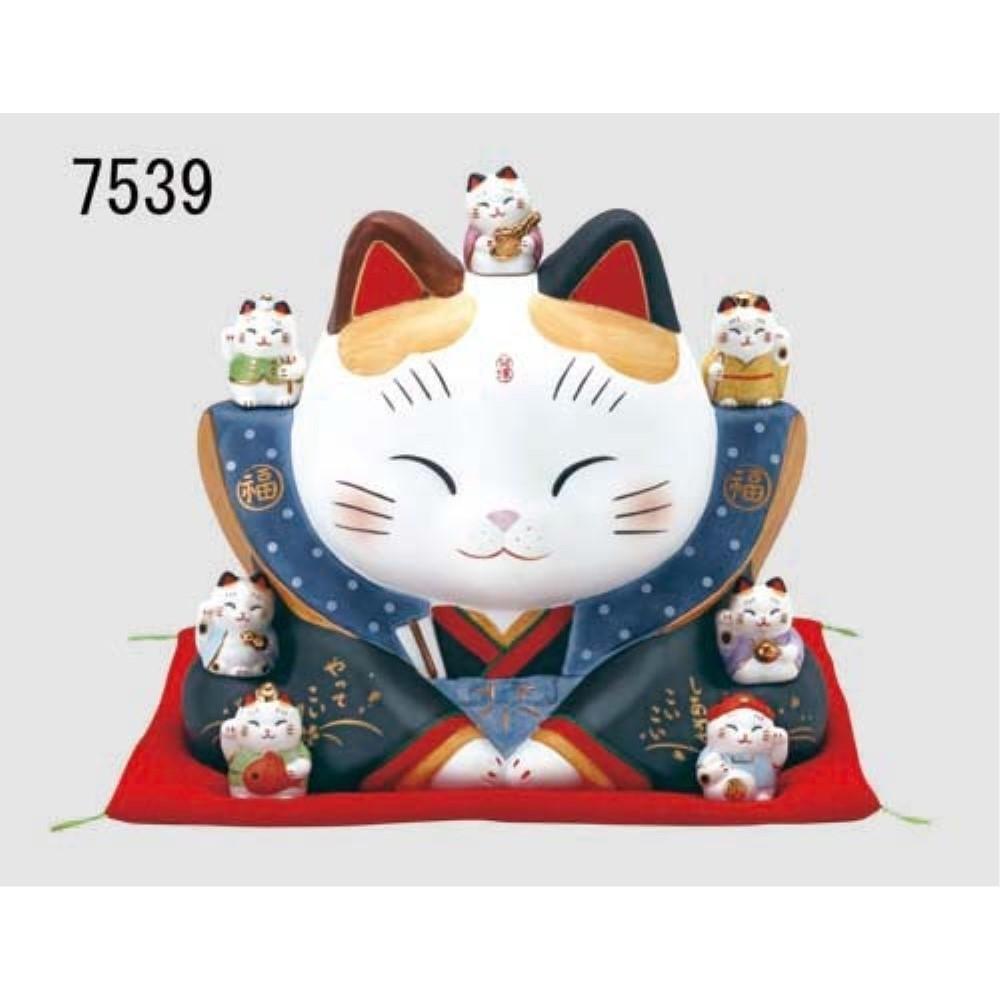 招き猫 ネコ インテリア 彩絵 七福神福助招き猫(大)
