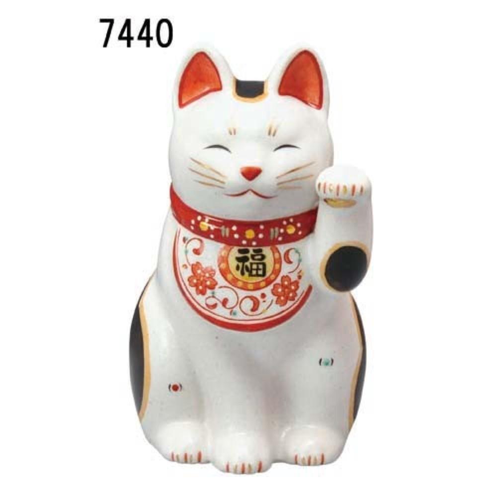 インテリア雑貨 ネコ 縁起の良い 陶彩 万福唐草 招き猫 (左手・大)