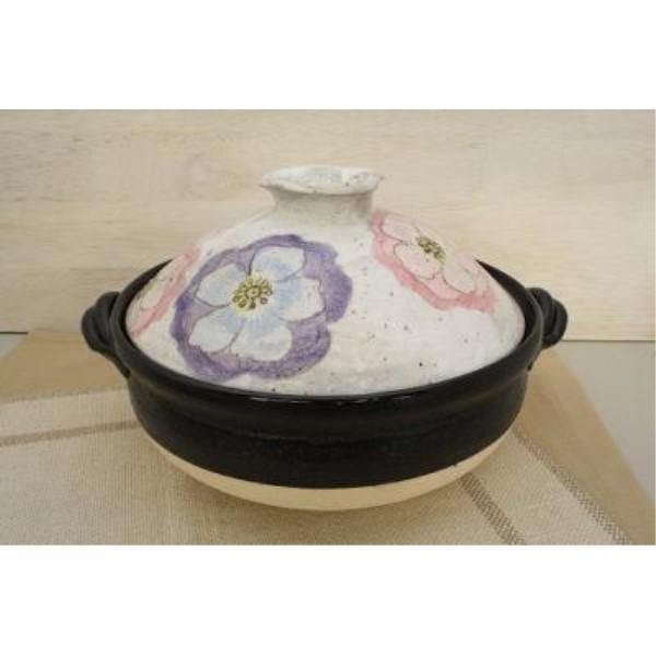 お鍋  可愛い 家族だんらん「季節の器」亜福窯 粉引輪花 土鍋(8号)花柄 ピンク