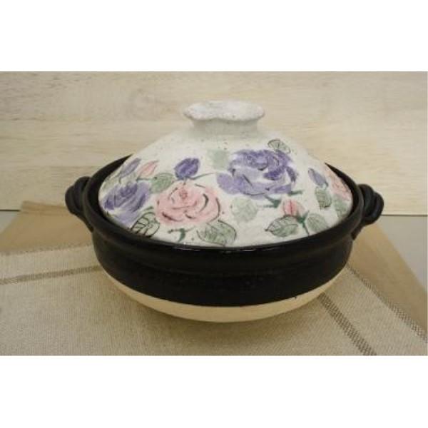 カセットコンロ   可愛い 家族だんらん「季節の器」亜福窯 花の詩(ばら)土鍋(9号)薔薇