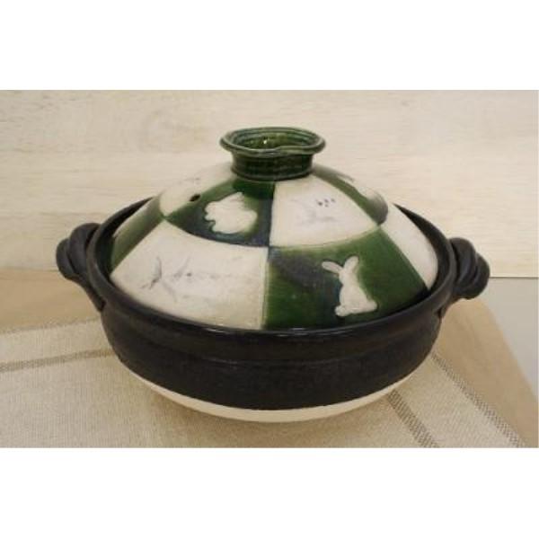 カセットコンロ  可愛い 家族だんらん「季節の器」 織部兎市松 ウサギ 9号 土鍋(日本製)