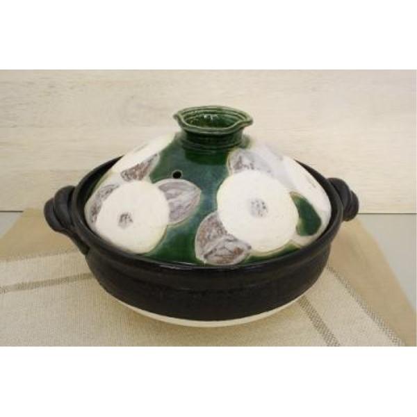 調理器具 便利グッズ 可愛い 家族だんらん「季節の器」 織部花椿 9号 土鍋(日本製)