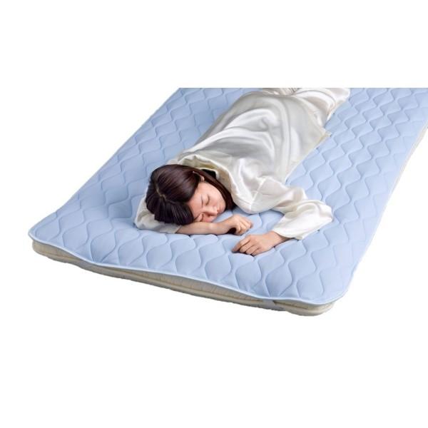 敷きパッド 夏 熱がこもりにくくさらにドライタッチで寝苦しさを和らげる敷パットです。 ぐっすり 【日本製 敷パッド】【クール】東洋紡生地「アイスポイント(R)」使用さわやか敷パット ダブル ブルー