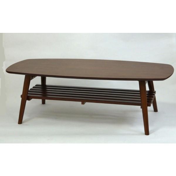 折りたたみ リビングテーブル 高級感ある折りたたみ式テーブル!! インテリア 家具 折れ脚 折り畳み 棚 ウォールナット 110cm