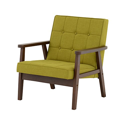 おしゃれな家具 □ソファ 1人掛けクロス 布グリーン 肘ダークブラウン□ 日用品