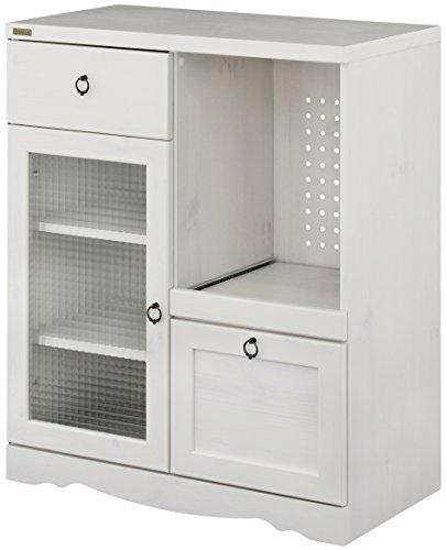 おしゃれな家具 □食器棚 カップボード キャビネット ホワイト 幅75cm 奥行40cm 高さ90cm BTC90-75G WH□ 日用品