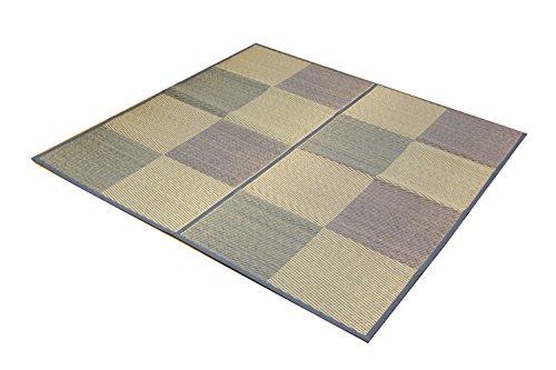 おしゃれなインテリア □い草 花ござ カーペット 2畳  ブルー 江戸間2畳 (約174×174cm) 裏:不織布□ 日用品