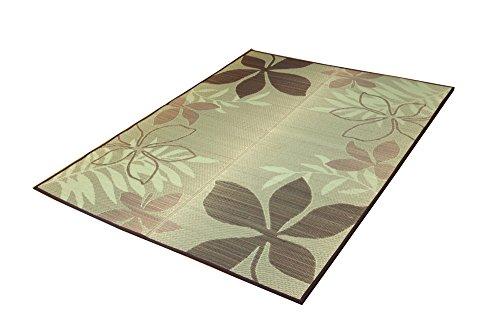 おしゃれなインテリア □い草ラグ カーペット 3畳 リーフ柄  ブラウン 約191×250cm (裏:滑りにくい加工)□ 日用品