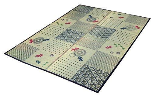 おしゃれなインテリア □い草ラグ ラグ カーペット 3畳 長方形 和柄 風物詩  約176×230cm (裏:不織布) ♯8165310□ 日用品