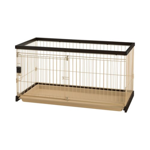 ペットサークル 犬 ワンタッチ ロック解除 安心・安全 木製お掃除簡単ペットサークル 120-60 ダークブラウン(DB)