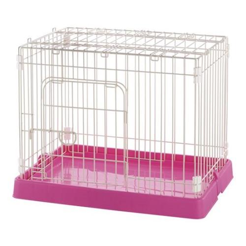 ペット ケージ バックルでワイヤーをしっかり固定 話題の ペット用コンパクトケージ ピンク(P)