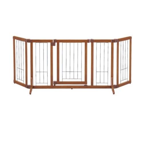 ペットゲート 場所に合わせて簡単幅調節! 人気アイテム ペット用 木製おくだけドア付ゲートM ブラウン(BR)