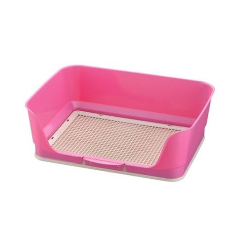 犬用 トイレ メッシュと枠が一体なので、シーツ交換 が簡単です。 おしゃれ しつけ用ステップ壁付きトイレ レギュラー ピンク(P)