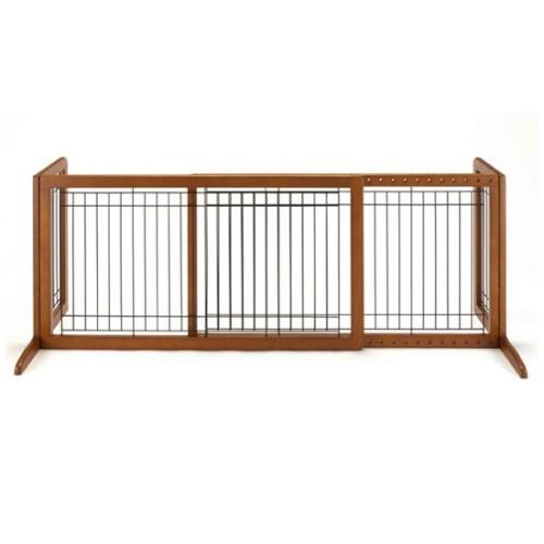 木製 ゲート 使用しない時は、コンパクトに,折りたたみ できます 人気商品 ペット用 木製おくだけゲート ワイド ブラウン(BR)